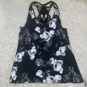 - black and White Roses tank ank top